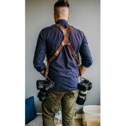 Разгрузка для фотографа из кожи на два фотоаппарата